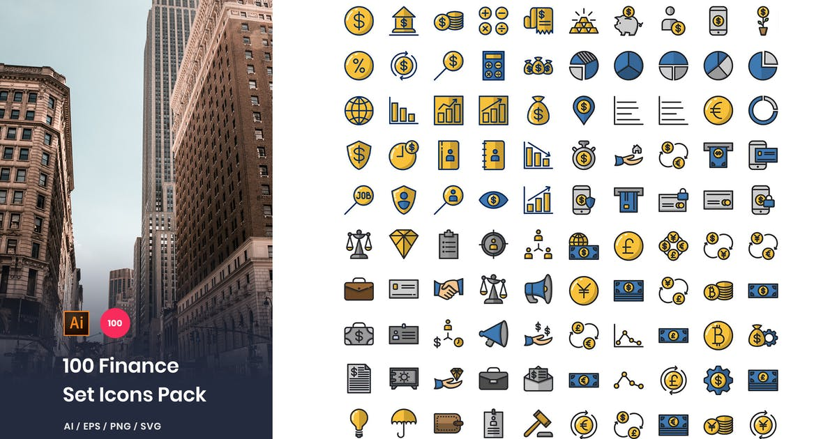 Download 100 Finance Icons Pack by StringLabs