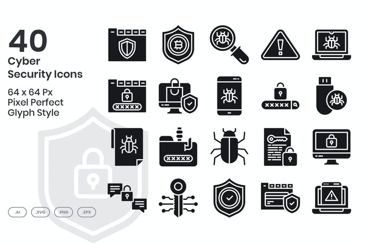 40 Cyber-SicherheitsIcons Set - Glyphe