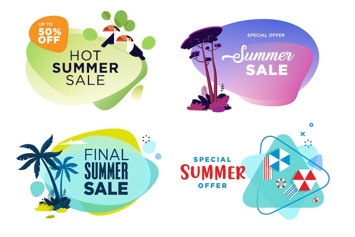 Thumbnail for Set of summer sale labels and stickers.