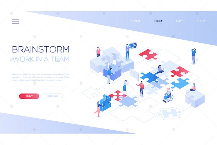 Thumbnail for Brainstorm and teamwork - isometric web banner