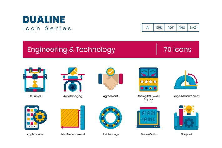 Thumbnail for 70 Engineering & Technology Flat Icons