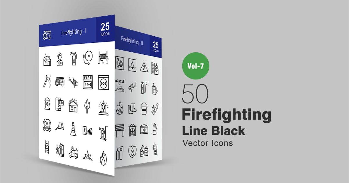 50 Firefighting Line Icons by IconBunny