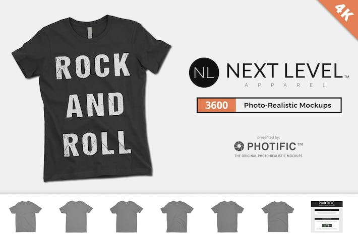 Thumbnail for Next Level 3600 Crew-Neck T-Shirt Mockups