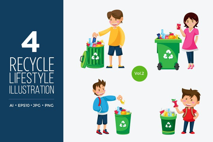 Thumbnail for Recycle Lifestyle People Vector Character Set 1