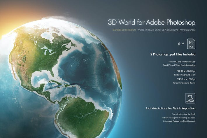 Thumbnail for Photoshop 3D World - Earth Globe