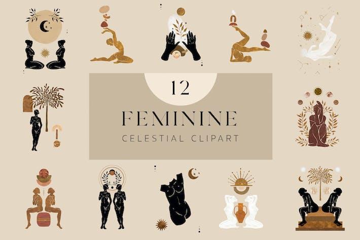 Feminine Celestial Clipart Set