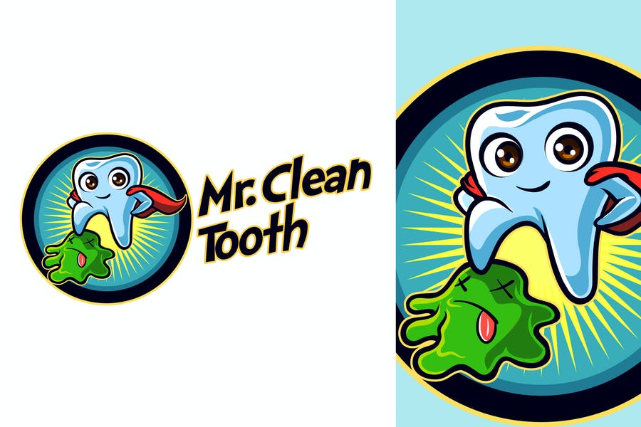 Mr. Clean Tooth - Dentist Tooth Mascot Logo