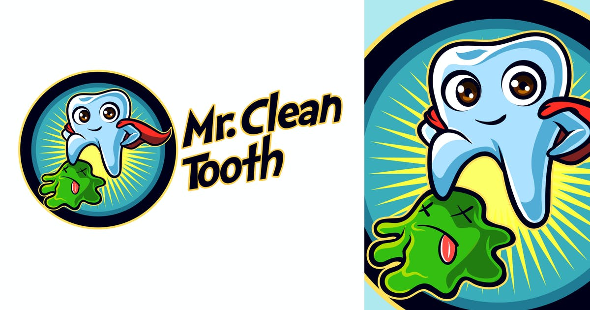 Download Mr. Clean Tooth - Dentist Tooth Mascot Logo by Suhandi