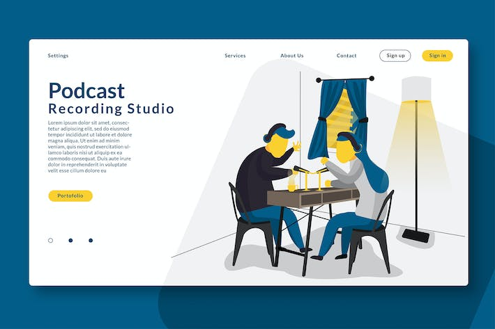 Thumbnail for Podcast Recording - Web Header & Vector GR