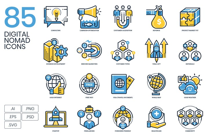 Cover Image For 85 Digital Nomad Icons