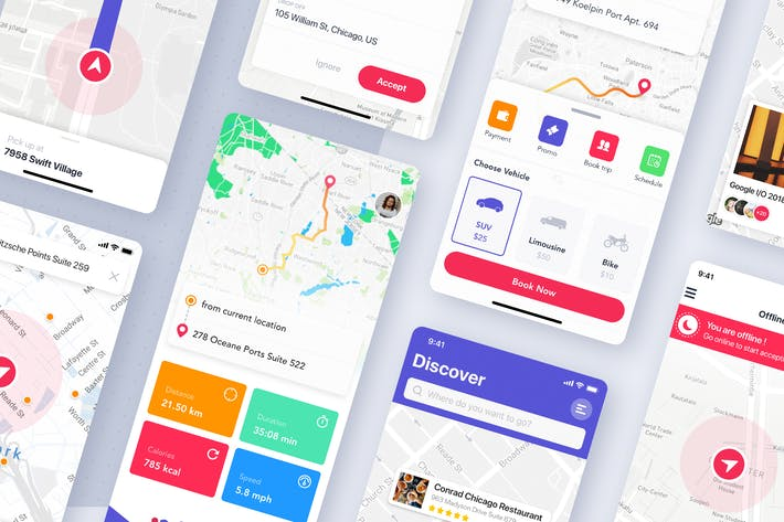 Thumbnail for Map & Navigation UI concept for mobile app