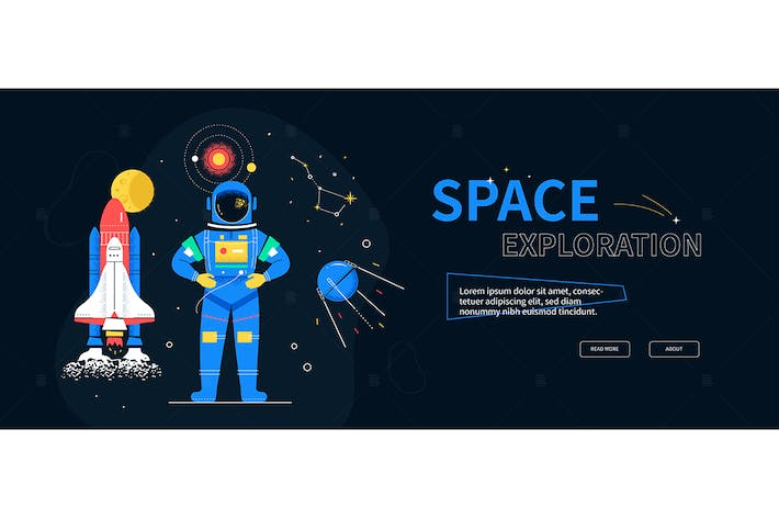 Thumbnail for Space exploration - flat design style web banner