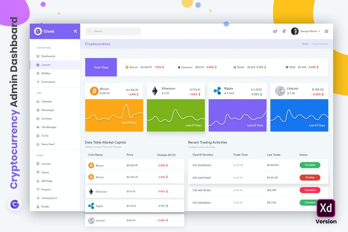 Thumbnail for Cryptocurrency Admin Dashboard UI Kit (XD)