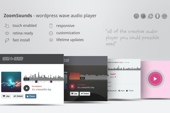 Thumbnail for ZoomSounds - WordPress Wave Audio Player
