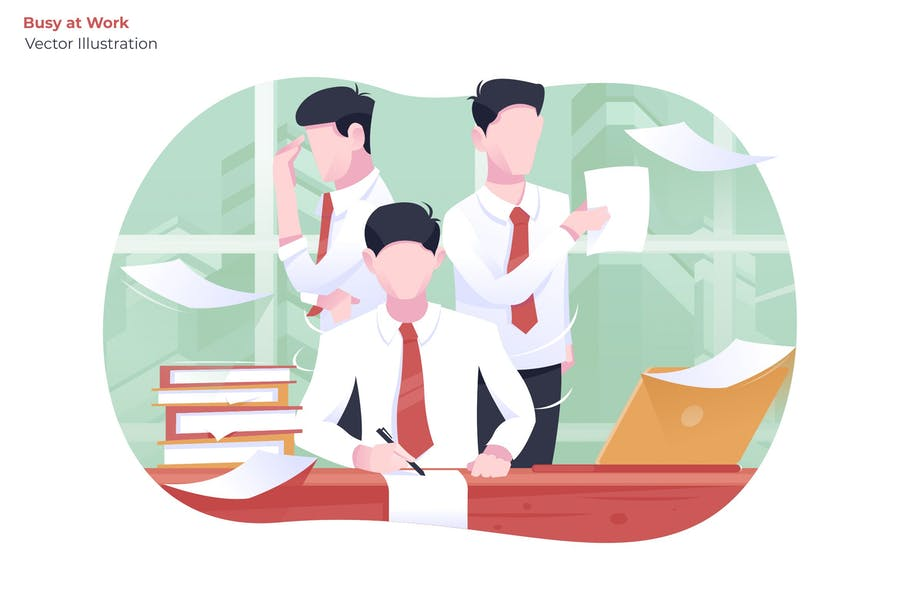 Busy at Work - Vector Illustration