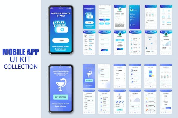 Thumbnail for Большая Коллекция медицинских мобильных Приложение Ui Kit Экран
