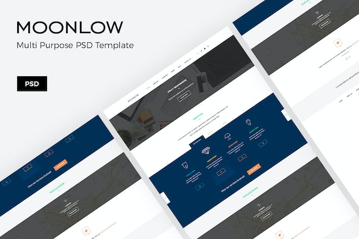 Thumbnail for Moonlow – Business Website PSD Template