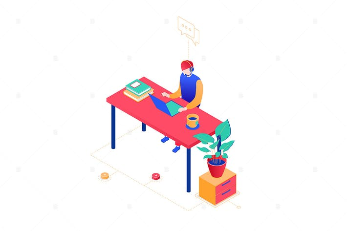 Thumbnail for Technical support - isometric illustration