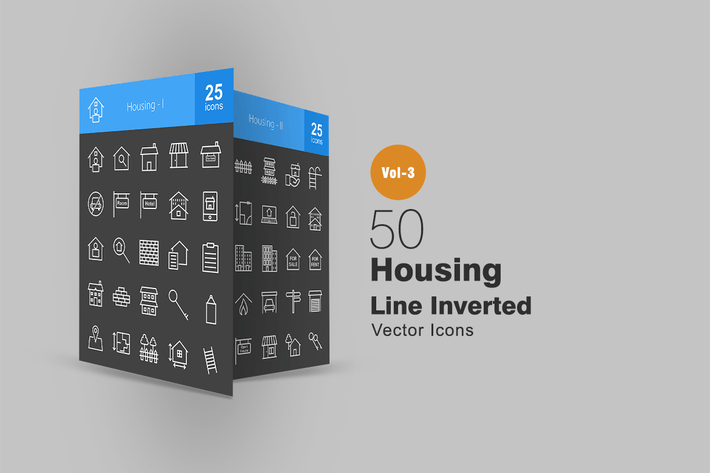 Cover Image For 50 Housing Line Inverted Icons