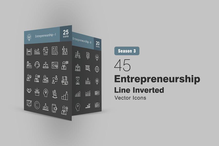 45 Entrepreneurship Line Inverted Icons
