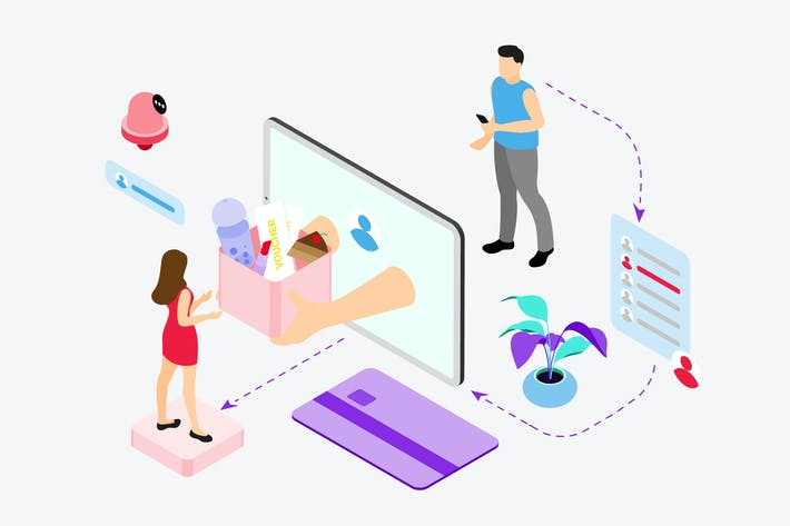 Thumbnail for Send Gifts by Digital Wallet Isometric