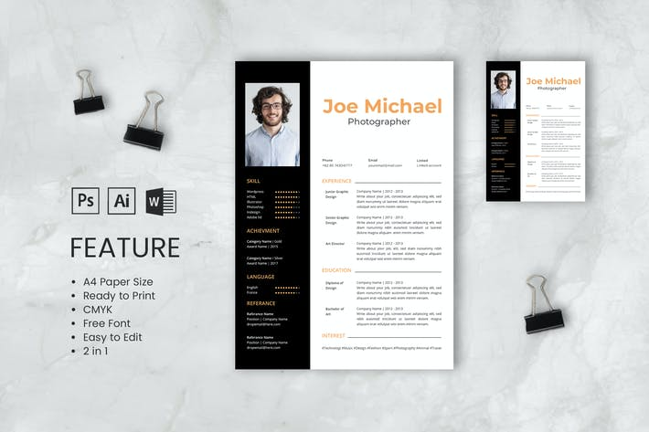 Thumbnail for Professional CV And Resume Template Joe