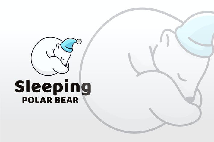 Thumbnail for Sleeping Polar Bear Logo Template