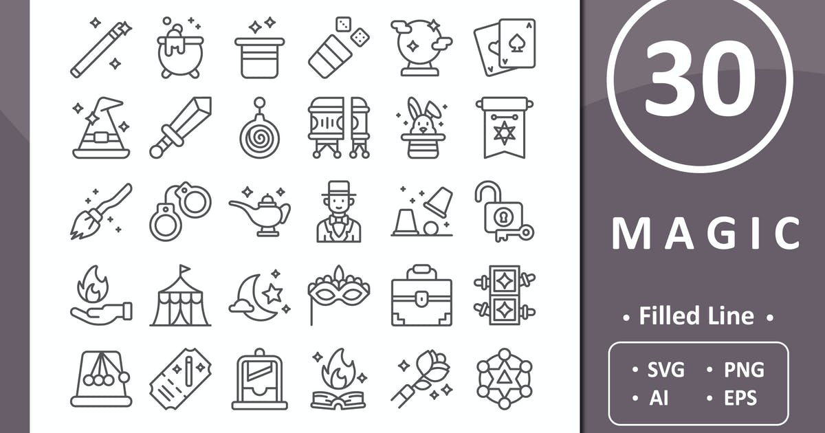 Download 30 Magic Icons - Line by vectorizone