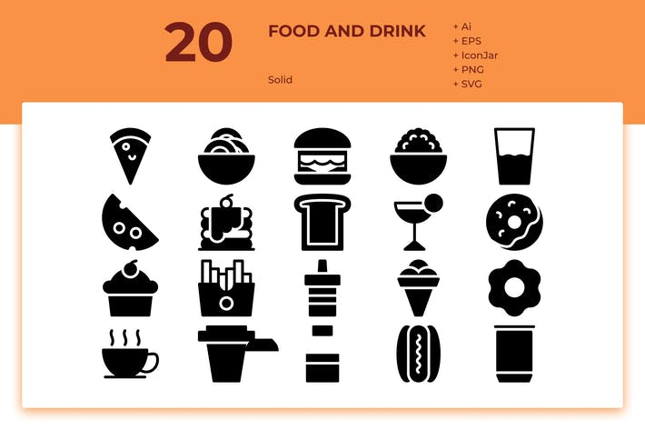 Thumbnail for 20 Food & Drink Icons (Solid)
