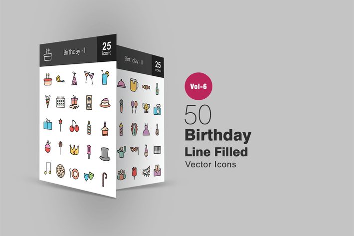 Thumbnail for 50 Birthday Filled Line Icons