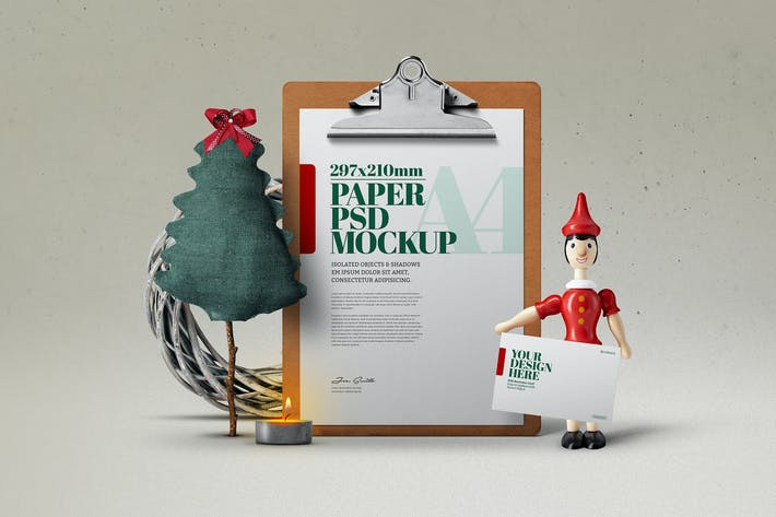 Thumbnail for Christmas A4 Flyer Clipboard Wood  Toy Mockup