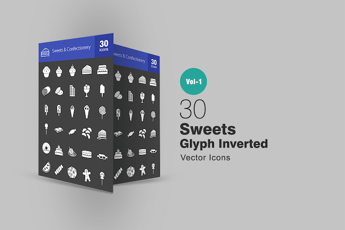 Thumbnail for 30 Sweets & Confectionery Glyph Inverted Icons