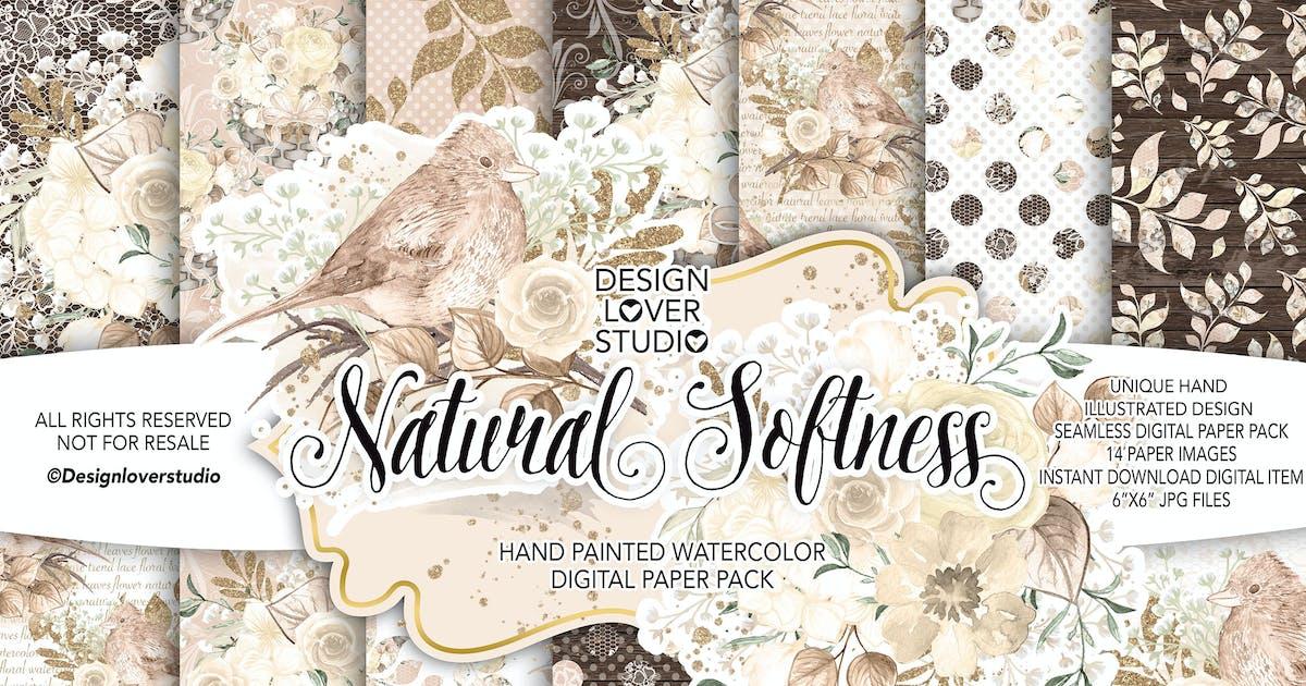 Download Watercolor NATURAL SOFTNESS digital paper pack by designloverstudio