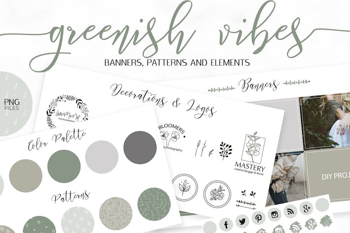 Thumbnail for Green Web Design and Branding Kit