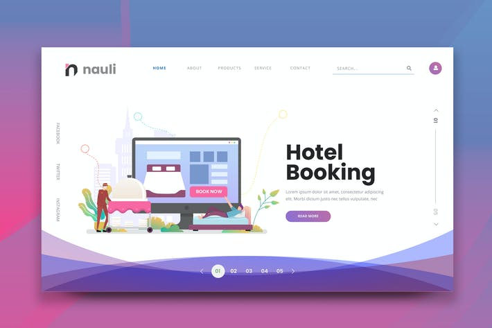 Thumbnail for Hotel Booking Web PSD and AI Vector Template