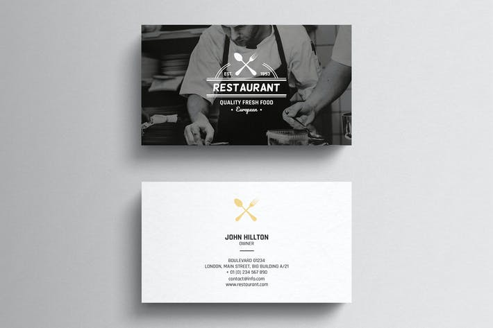 Restaurant Business Card Template By Eightonesixstudios On Envato