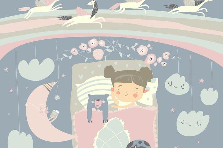 Thumbnail for Girl sleeping with teddy bear #illustration2020