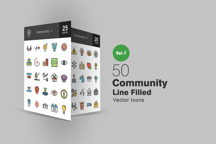 Thumbnail for 50 Community Filled Line Icons
