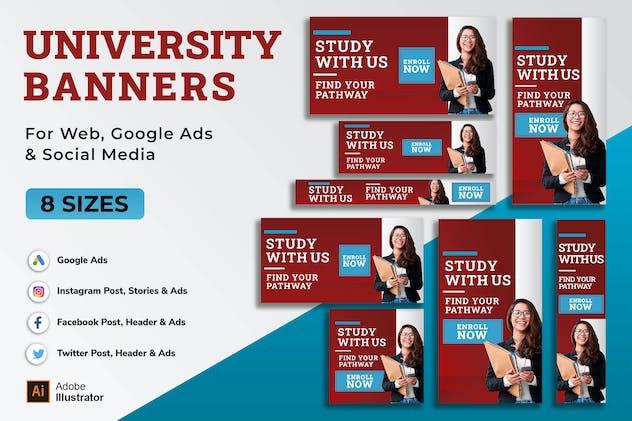 University Student Banner, Google Ad, Post Stories