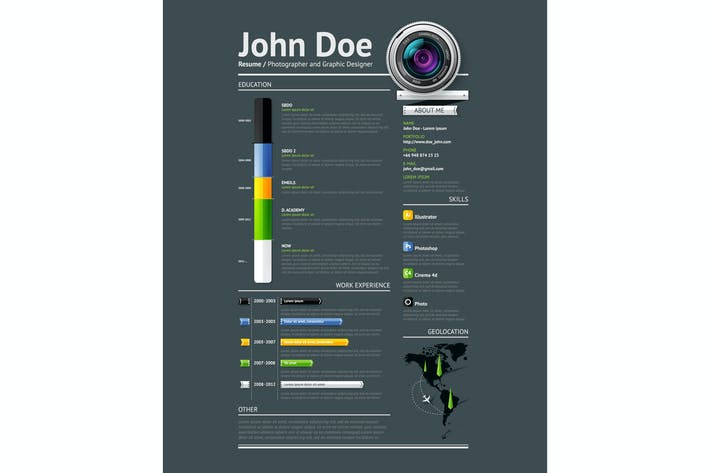 Thumbnail for Simple vector template for photographer resume