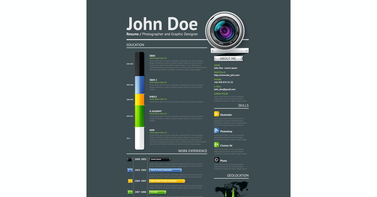 Download Simple vector template for photographer resume by fet