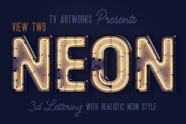 Cover Image For Modern Neon 3D Lettering View 2