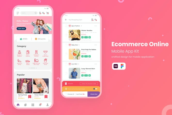 Thumbnail for UI Shopping en ligne Mobile KIT