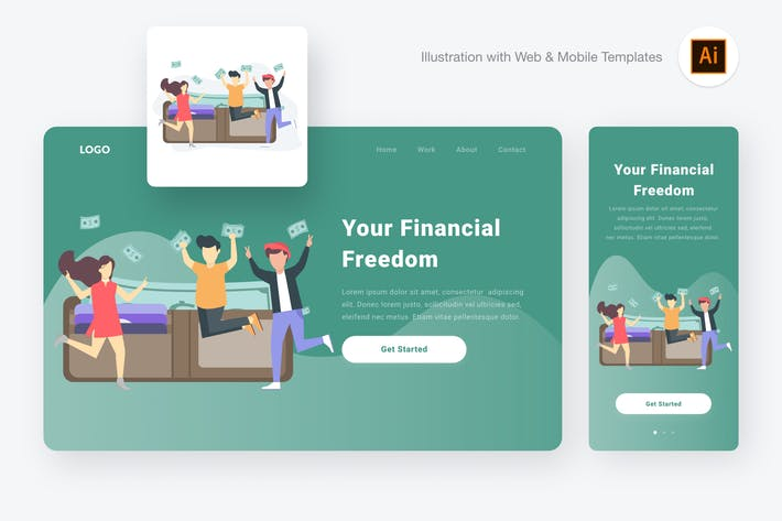 Thumbnail for Financial freedom illustration (Illustrator & SVG)