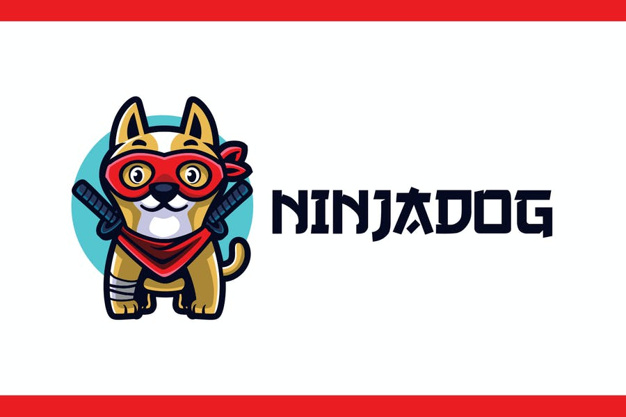 Cartoon Ninja Dog Mascot Logo - product preview 0