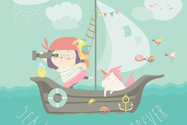 Thumbnail for Счастливая девушка с единорогом, катающимся на лодках на их корабле.