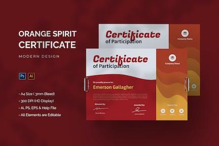 Orange Spirit - Certificate