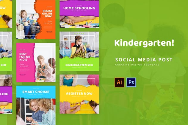 Kindergarten Social Media Post Template