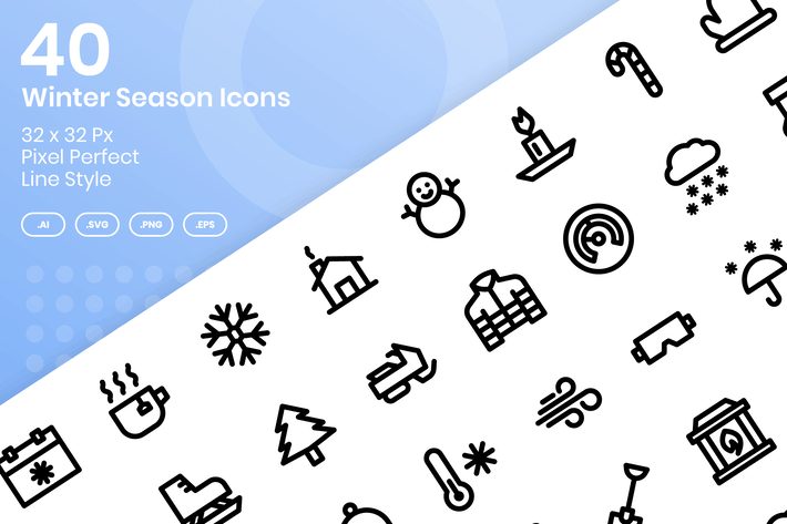Thumbnail for 40 Winter Season Icons Set - Line