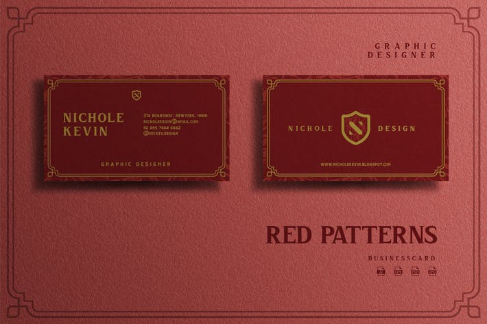 Thumbnail for Red Pattern Theme - Graphic Designer Businesscard